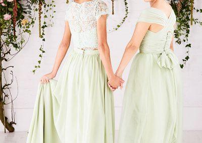 Chiffon wrap with lace capped sleeve topper and tulle and chiffon skirts