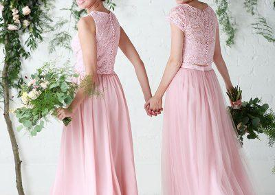 Lace toppers with tulle and chiffon skirts