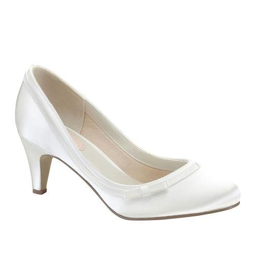 b9bcc4249a1 Dahlia. Dahlia  vintage inspiration strikes with this ivory satin round toe  ...